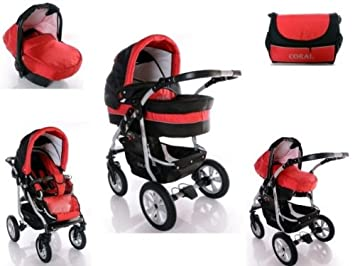 Baby Stroller Travel System 3in1 Coral Black Red