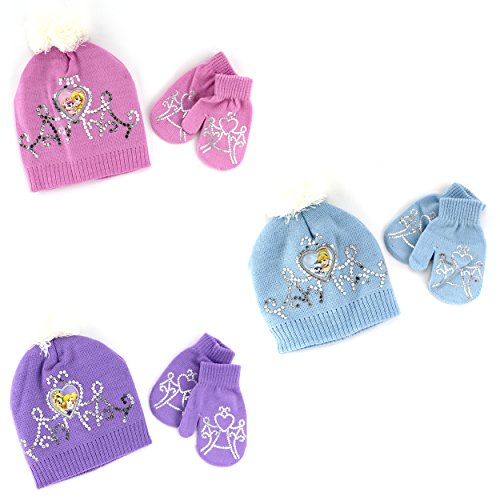 Sofia The First Costume Images - Disney Nickelodeon Toddler Girls Hat and Mittens Set (Pink Aurora & Beauty)