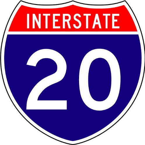 Street & Traffic Sign Wall Decals - Interstate Route Sign (Two Digit) - 12 inch Removable Graphic ()