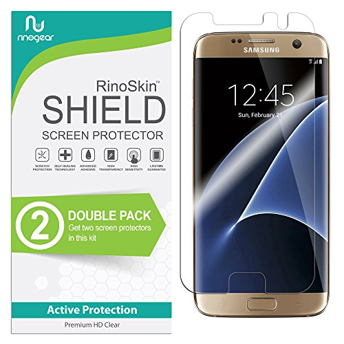 Crystal Screen - [2-Pack] RinoGear for Galaxy S7 Edge Screen Protector [Active Protection] (Edge-to-Edge) Flexible HD Crystal Clear Anti-Bubble Film