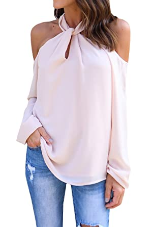 4dc3f9851bb Image Unavailable. Image not available for. Color: Enjoybuy Women Long  Sleeve Off Shoulder Chiffon Cold Shoulder Solid Color Sexy Blouse Top