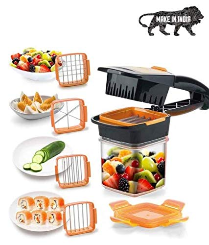 COIF Dicer Quick Chopper for Fruit and Vegetables 5-in-1 Multi-Slicer with Interchangeable Blade Inserts 30 Cubes or 10 Slices with a Click! (Orange/Green)