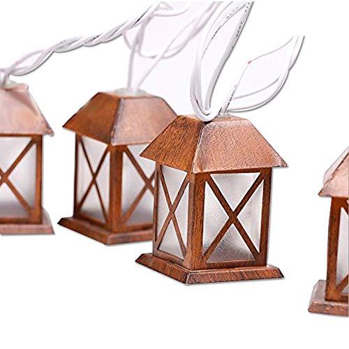 1.5m/4.9ft 10 Led Christmas Lights Lantern Fairy String Light Warm White Retro Vintage Bronze Metal House Shaped Lantern for Wedding Party Home Room Decorations Outdoor Plug-in Lighting 110V