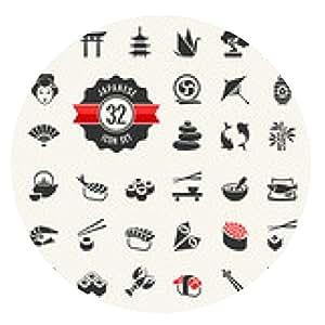alfombrilla de ratón viajes web icono conjunto Japón - ronda - 20cm