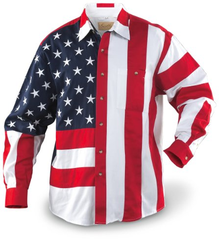 Scully Men's Red/White/Blue Americana Shirt