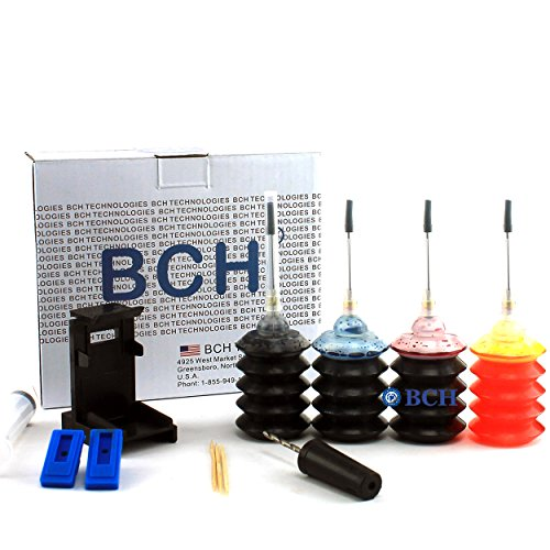 Ink Refill Kit by BCH - for PG-240 CL-241 Inkjet Printer Cartridges - First-Timer Kit with Everything You Need - All 4 Colors - EZ30-KCMY-T