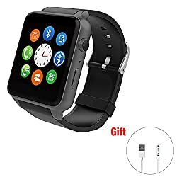 Smart Watch Pedometer Heart Rate Bluetooth Cell Phone Call Reminder for Android and IOS Smart Watches (Black)