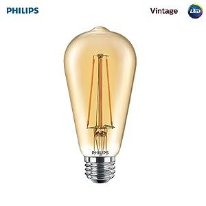 Philips LED Amber Glass ST19 Dimmable Vintage Filament Light Bulb: 350-Lumen, 2000 Kelvin, 4.5-Watt (40-Watt Equivalent) E26 Base, Amber, 1-Pack