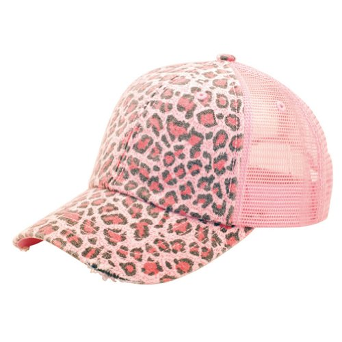 MG Women's Print Mesh Canvas Trucker Baseball Cap Hat (Pink Leopard)