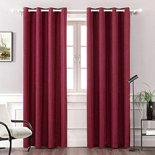 MIULEE Thermal Linen Curtain for Bedroom/Living Room Darkening Farmhouse Grommet Textured Window Blackout Drape Light Block Out 1 Panel W 52 x L 90 Inches Wine Red