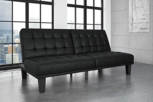 - DHP Dexter Futon and Recliner Lounger, Multi-functional Sofa for Small Spaces, Black Faux Leather