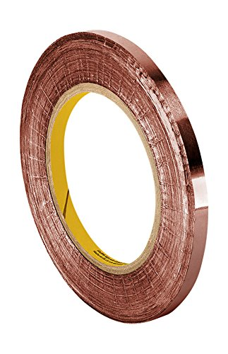 "TapeCase 1181 Copper/Acrylic Adhesive, Foil Tape with Conductive Adhesive-Converted from 3M, 18 yds Length, 0.125"" Width"