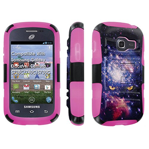 [SkinGuardz] Case for Samsung Galaxy Discover Centura S738C / 740 C / S730 G Black/Rose Pink [Ultra Shock Resistance Tough Case with KickStand] - [Space Cat] (Artist Cat Unknown)