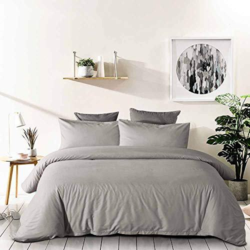 Tanzy Grey Queen Duvet Cover Set,Solid 90 x 90 Soft Plush Lightweight Microfiber Bed Quilt Comforter Covers with Zip Closure - Cool/Modern Hotel 3 Piece (2 Pillowcase, 1 Cover) for Girls/Men/Women ()