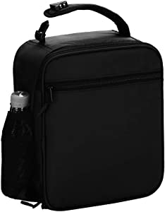 Insulated Lunch Box for Men/Women Kid-Reusable Lunch Bag Lunch Container Cooler Bag design for Office Work School Hiking Picnic Beach (black)