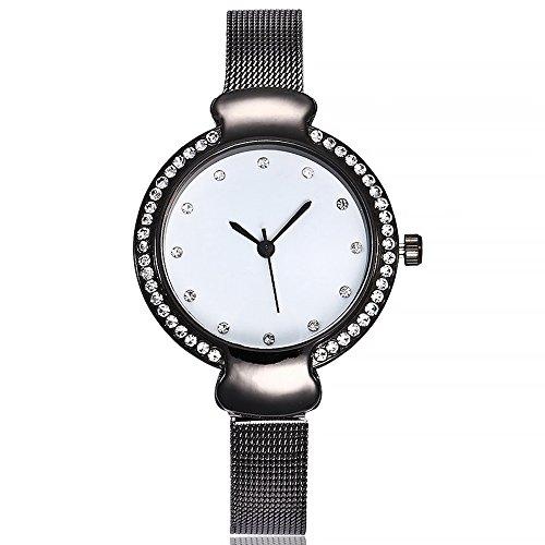 Womens Quartz Watches COOKI Ladies Fashion Minimalist Casual Quartz Analog Alloy Wristwatch Round Diamonds Dial Stainless Steel Mesh Band X15 (Black)