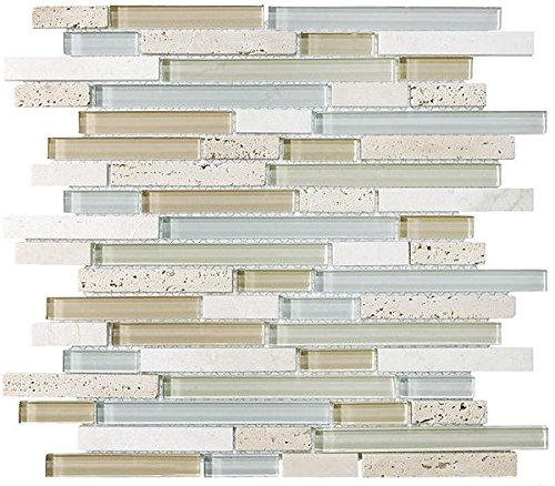 1 Square Foot - Bliss Spa Stone and Glass Linear Mosaic ()