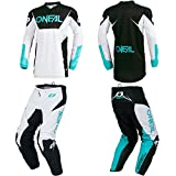 O'Neal Element Racewear White Adult motocross MX off-road dirt bike Jersey Pants combo riding gear set (Pants W38/Jersey XX-Large)