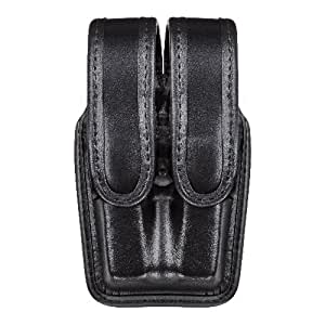 Bianchi 7944 Slimline Double Mag Pouch, Hi Gloss Black w/ Brass Snap, For Glock 17/19 &