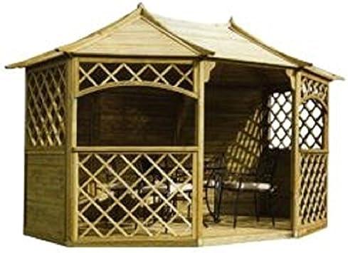 Cenador Madera Carpa con schindeln. con techo de madera 3, 5 mx2, 6 m (exterior 3, 95 X 3 M) barato: Amazon.es: Jardín