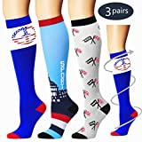 Laite Hebe Compression Socks,(3 Pairs) Compression Sock for Women & Men - Best for Running, Athletic Sports, Crossfit, Flight Travel(Multti-colors10-S/M)