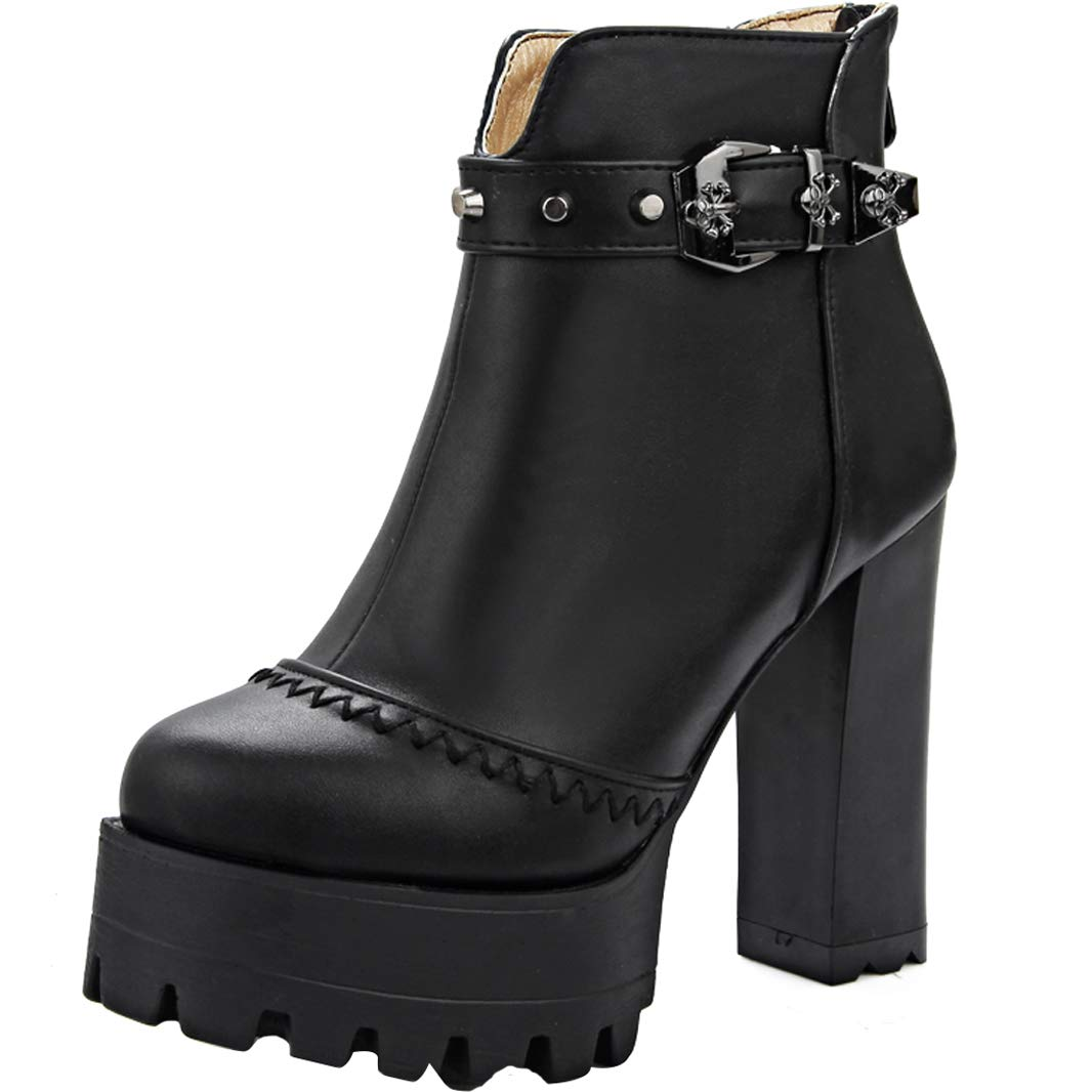 Mavirs Block Womens MaNiag Block Mavirs Heel Ankle-high 12 cm Boots B07GLT6T1M Boots 2c5ee9