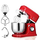 MeyKey HA5161 Classic Series Stand Mixer, 800W, Food Mixer, Kitchen Electric Mixer with 6-speed control, 5-Quart, Hook, Whisk, Beater, Splash Guard - Empire Red