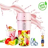 Portable Blender for Shakes and Smoothies,ARTSUN Smoothie Mixer Mini Small Travel Blender with Blendjet Personal Juicer Cup Blender USB Rechargeable,IP68 Waterproof, BPA Free,10.5oz (PINK)