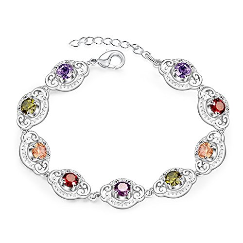 iCAREu Silver Plated Cloud Shape Charm Adjustable Bracelet with Colourful Zircons