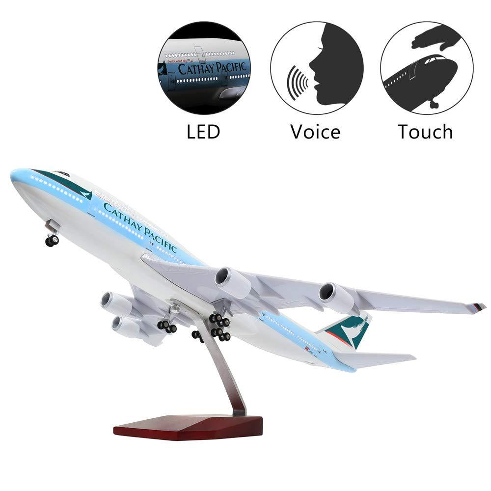 HANG OU 46cm LED-Beleuchtung 1 130 Modellflugzeug Boeing 787 Dreamliner mit Fahrwerk Flugzeug Geschenk oder Deko Cathay Pacific 747 46cm-led Light