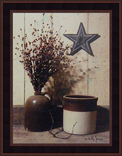 Primitive Country Framed Picture (Crocks and Star by Billy Jacobs 15x19 Antique Jug Still Life Country Primitive Folk Art Print Wall Décor Framed Picture)