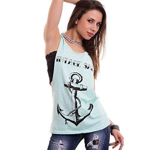 Toocool - Camiseta sin mangas - para mujer verde agua