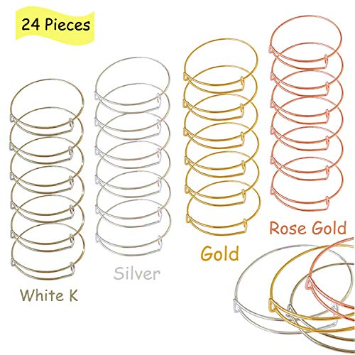 Gold Charms For Charm Bracelets - 24 PCS Expandable Bangle Bracelet, Adjustable Wire Blank Bracelet Jewelry Findings for Women, DIY Jewelry Making Charms Bracelets (Silver, White K, Gold, Rose Gold)