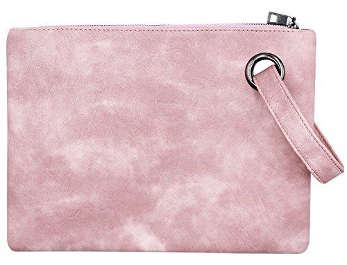 Women Oversized Envelope Handbag PU Leather Clutch Evening Bag Wrist Bag by C.C-US