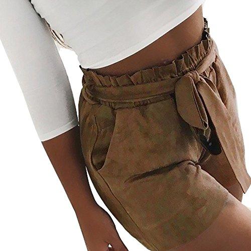 ZEFOTIM ✿ Loose Shorts for Women Pure Color Pocket High Waist Bandage Easy Elastic Casual Short -