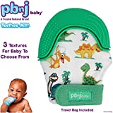 PBnJ baby Silicone Infant Teething Mitten Teether Glove Mitt Toy with Travel Bag (Dinosaur) Review