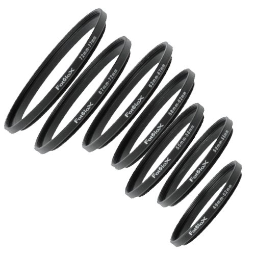 Fotodiox 7 Metal Step Up Ring Set, Anodized Black Metal 49-52mm, 52-55mm, 55-58mm, 58-62mm, 62-67mm, 67-72mm, 72-77mm by Fotodiox