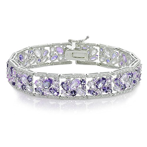 Sterling Silver African Amethyst and Amethyst Flower Cluster (Sterling Silver African Amethyst Bracelet)