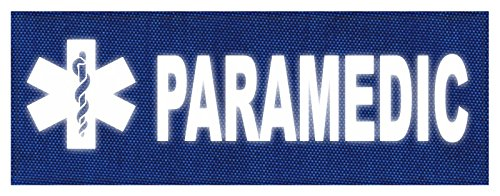 TACTICAL IDENTIFICATION PATCHES Paramedic Star of Life Patch - 11x4 - Reflective White Lettering - Royal Blue Backing - Hook Fabric