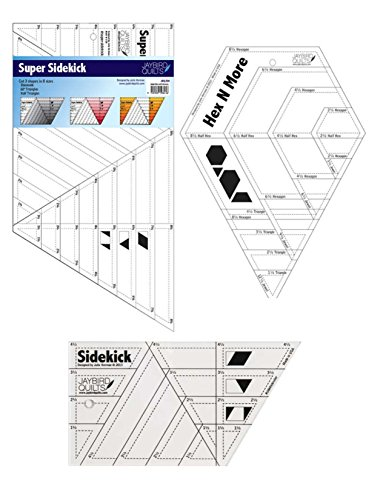 Hex n more, Super Sidekick, & Sidekick Quilt Ruler Set Quilting, Template, Rulers, Stencils by Jay Bird