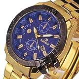 IEason,Luxury Mens Black Dial Gold Stainless Steel Date Quartz Analog Sport Wrist Watch (A)