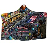 Independence Day American Flag Printed Plush Hooded Warm Nap Blanket Dressing Hooded Blanket 150200cm