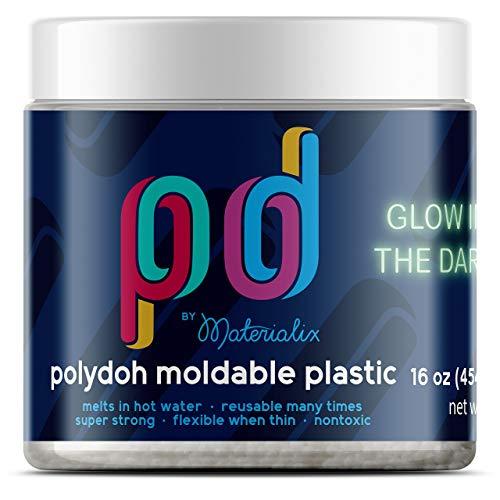 Polydoh Glow in The Dark moldable Plastic, 16oz tub [Polymorph, plastimake]