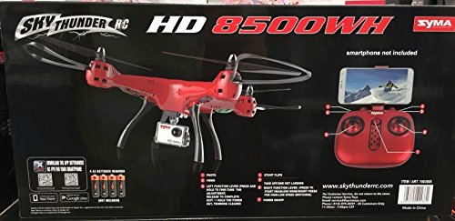 Syma-Sky-Thunder-RC-HD-8500WH-Drone-45-Ch-24GHZ-WiFi-Live-Stream-HD-Video-Camera-Red