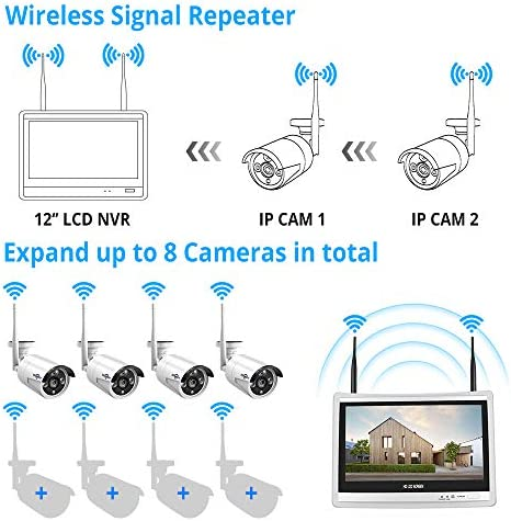 [8CH Expandable] Hiseeu All in one with 12″ LCD Monitor Wireless Security Camera System, Home Business 8CH 1080P NVR Kit 4pcs 2MP Outdoor Bullet IP Cameras Night Vision Waterproof,3TB Hard Drive 51jQ4xjKNVL