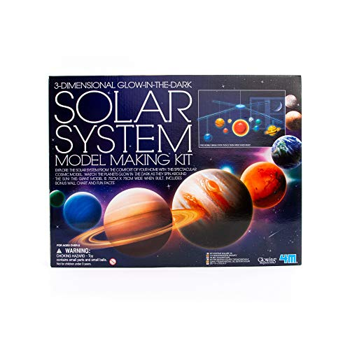 4M 3D Glow-In-The-Dark Solar System Mobile Making Kit - DIY Science Astronomy Learning STEM Toys Educational Gift for Kids & Teens, Girls & Boys (3d Planets Glow In The Dark Instructions)