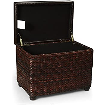 Adeco Brown Storage Ottoman Stool With Bulrush /Rattan /Wicker Weave,  Upholstery With Sponge Fill, Dark Brown