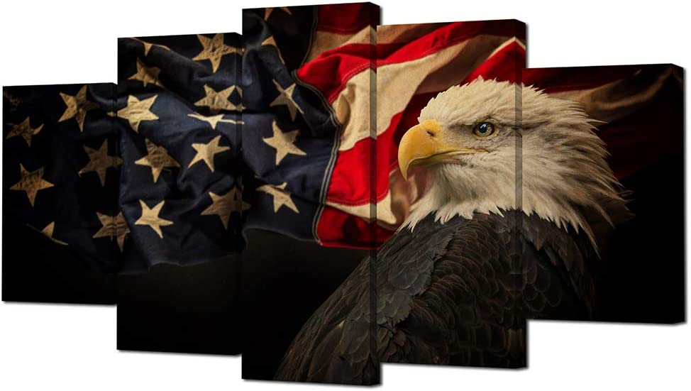American Flag Wall Decor US Flag with Bald Eagle Patriotic Canvas Wall Art Patriotic Theme Artwork Modern Wall Art for Home Decor 60x32inch