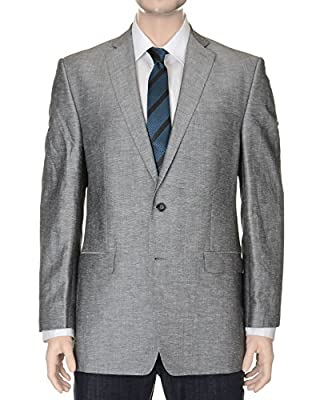 Calvin Klein Slim Fit Gray Textured Linen Blend Blazer