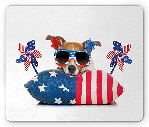 4th of July Mouse Pad by Lunarable, Jack Russell Celebrating Independence on an Old Glory Pillow with Sunglasses, Standard Size Rectangle Non-Slip Rubber Mousepad, - Glory Sunglasses